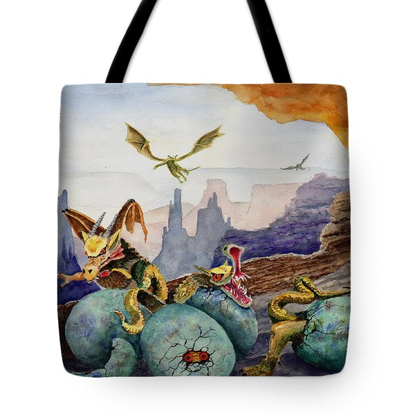 Tote Bag featuring the painting The Hatchlings by Sam Sidders