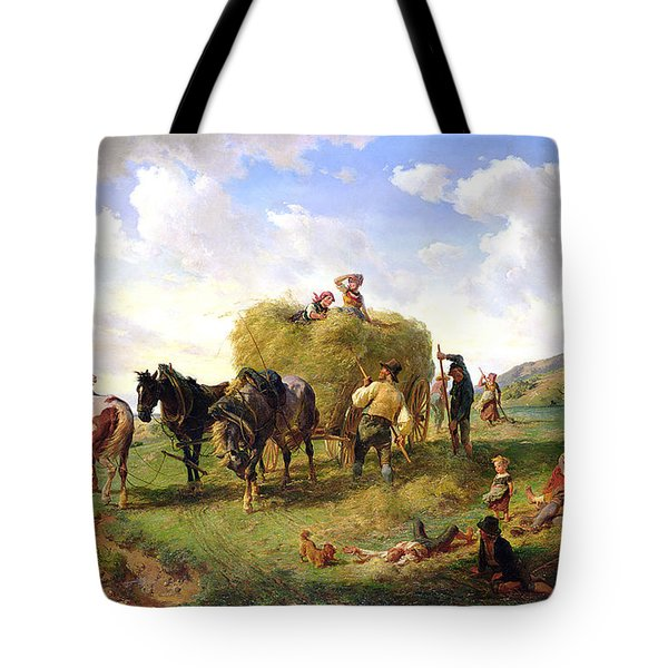 The Hay Harvest Tote Bag by Hermann Kauffmann