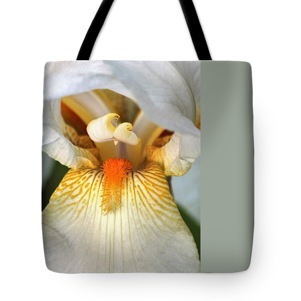 Tote Bag featuring the photograph The Heart Of A Bearded Iris by Sheila Brown