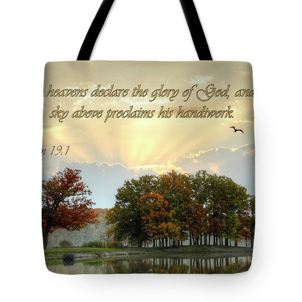 Tote Bag featuring the photograph The Heavenly Morning Card by Ann Bridges