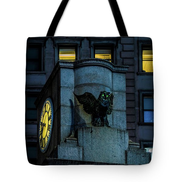 Tote Bag featuring the photograph The Herald Square Owl by Chris Lord