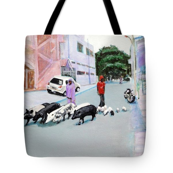 The Herd 5 - Pigs Tote Bag by Usha Shantharam