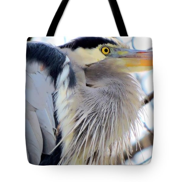 The Heron In Winter  Tote Bag