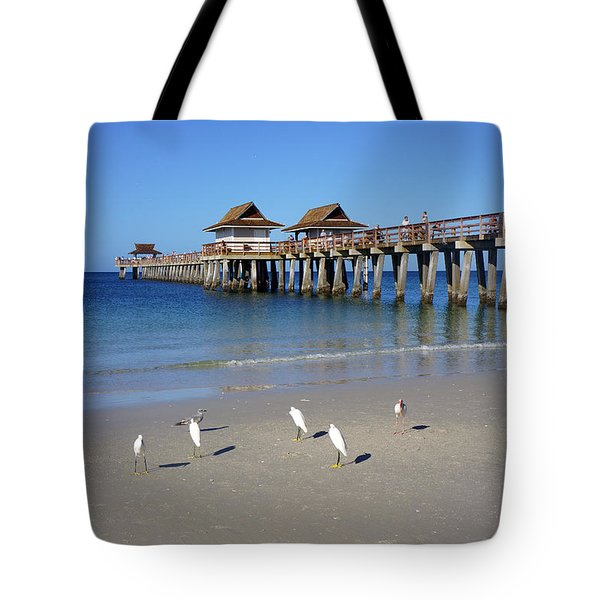 The Historic Naples Pier Tote Bag by Robb Stan