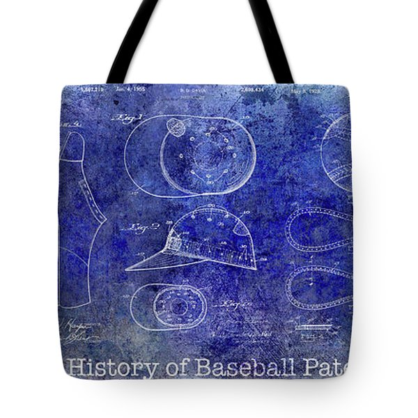 The History Of Baseball Patents Blue Tote Bag by Jon Neidert