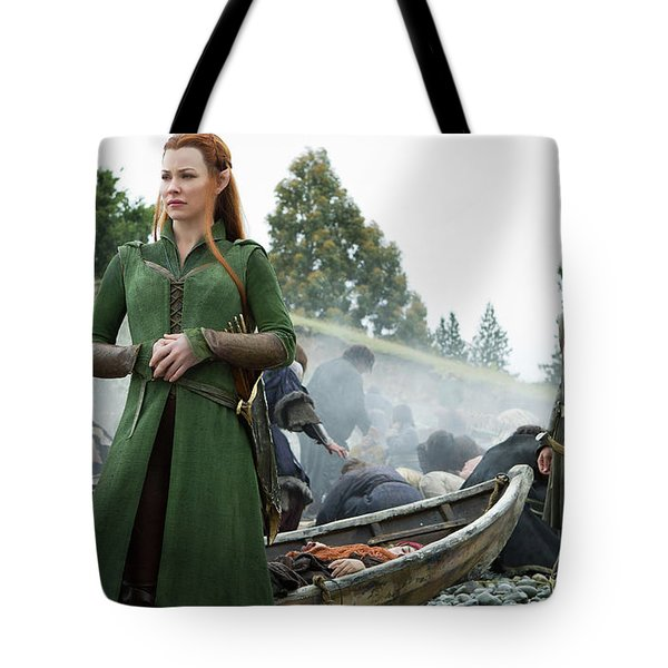 The Hobbit The Battle Of The Five Armies Evangeline Lilly Orlando Bloom Tote Bag
