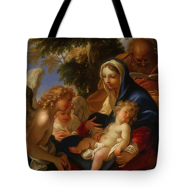 Tote Bag featuring the painting The Holy Family With Angels by Seastiano Ricci