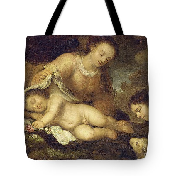 The Holy Family With Infant Saint John The Baptist Tote Bag