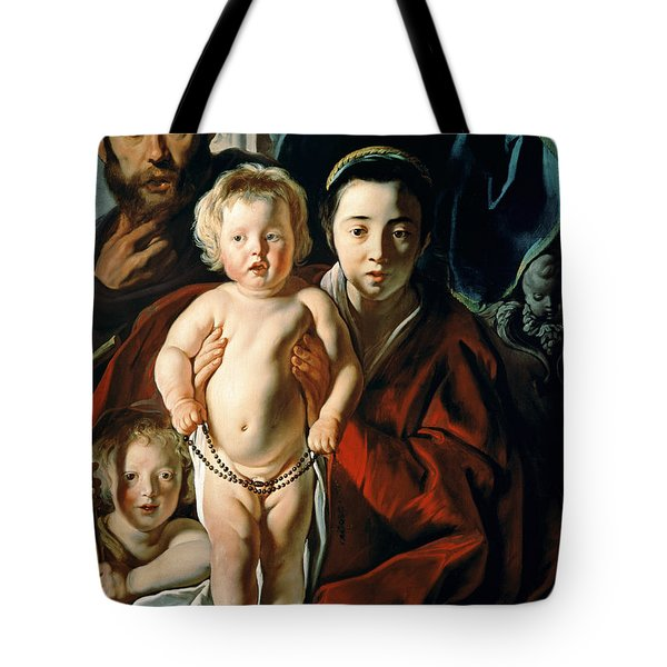 The Holy Family With St. John The Baptist Tote Bag by Jacob Jordaens