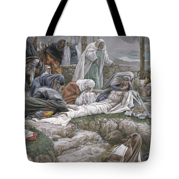 The Holy Virgin Receives The Body Of Jesus Tote Bag