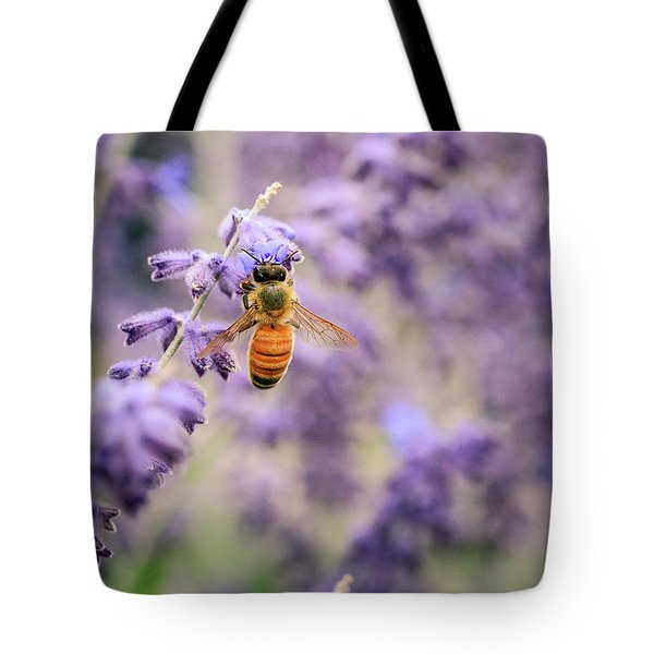 The Honey Bee And The Lavender Tote Bag