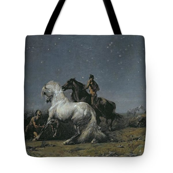 The Horse Thieves Tote Bag by Ferdinand Victor Eugene Delacroix