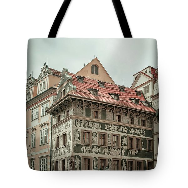 Tote Bag featuring the photograph The House At The Minute With Graffiti At Old Town Square  by Jenny Rainbow