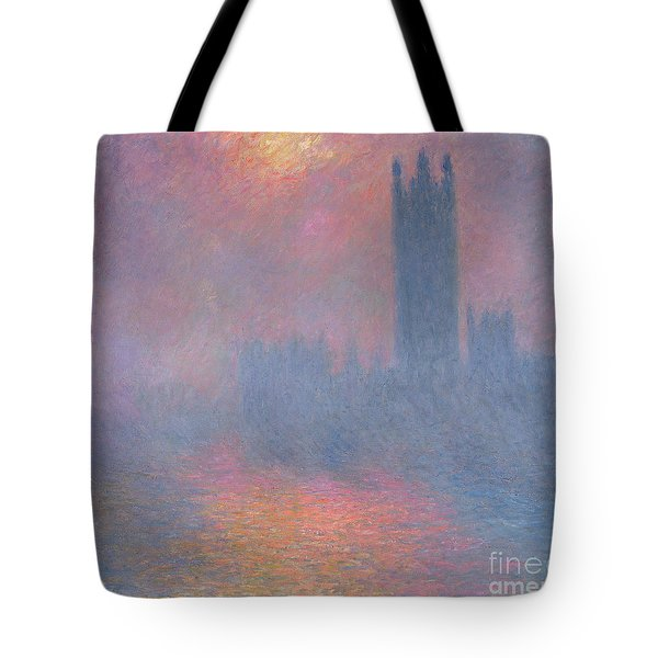 The Houses Of Parliament London Tote Bag by Claude Monet