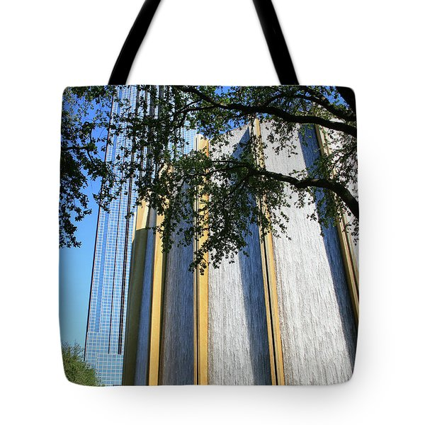 The Houston Water Wall And Williams Tower Tote Bag