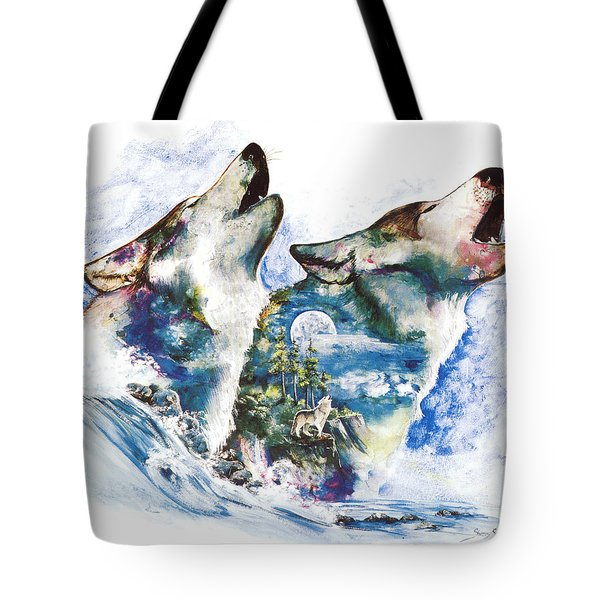 Tote Bag featuring the painting The Howl by Sherry Shipley