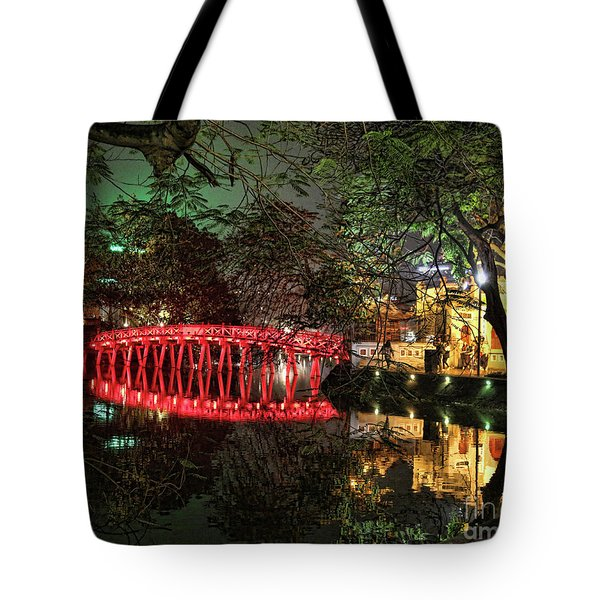 The Huc Bridge Night Hanoi Tote Bag