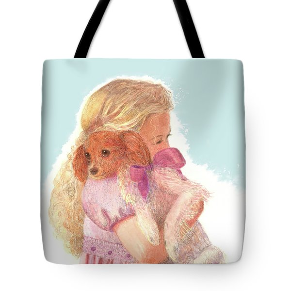 Tote Bag featuring the painting The Hug by Nancy Lee Moran