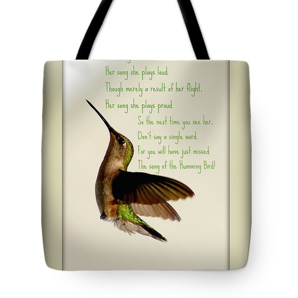 Tote Bag featuring the photograph The Hummingbird by Donna Bentley