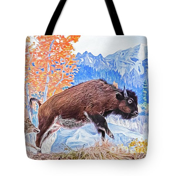 Tote Bag featuring the digital art The Hunt by Ray Shiu