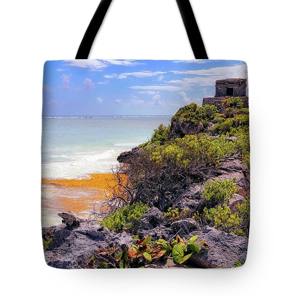 Tote Bag featuring the photograph The Iguana And The Temple Of The God Of The Wind - Tulum Mayan Ruins - Mexico by Jason Politte
