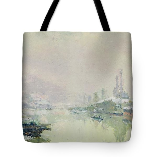 The Ile Lacroix Under Snow Tote Bag by Albert Charles Lebourg