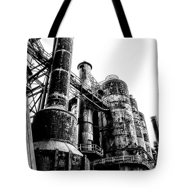 The Industrial Age At Bethlehem Steel In Black And White Tote Bag by Bill Cannon