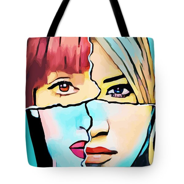 The Inner Struggle Split Personality Abstract Tote Bag
