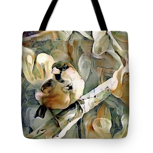 Tote Bag featuring the mixed media The Inquisitive Sparrow by Susan Maxwell Schmidt