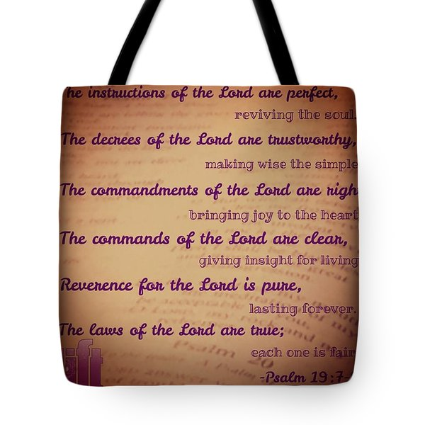 The Instructions Of The Lord Are Tote Bag