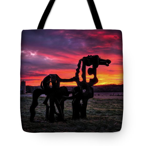 Tote Bag featuring the photograph The Iron Horse Sun Up by Reid Callaway
