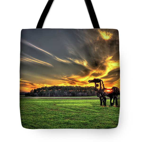Tote Bag featuring the photograph The Iron Horse Sunset by Reid Callaway