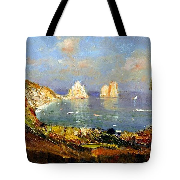 Tote Bag featuring the painting The Island Of Capri And The Faraglioni by Rosario Piazza