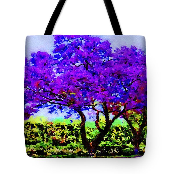 Tote Bag featuring the painting The Jacaranda by Angela Treat Lyon