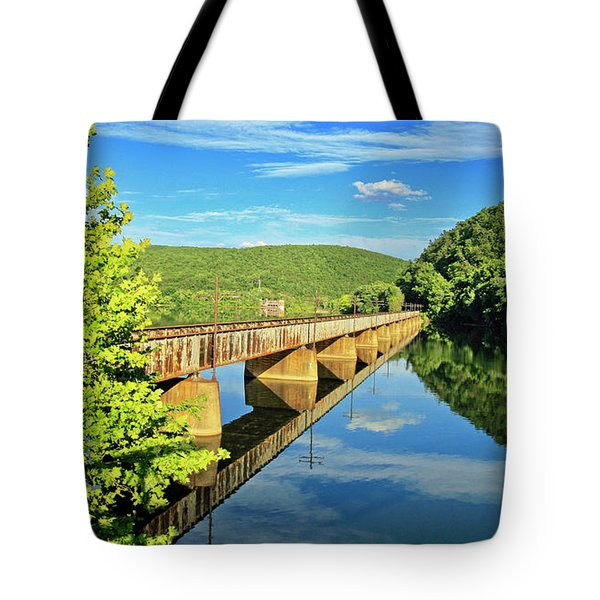 The James River Trestle Bridge, Va Tote Bag