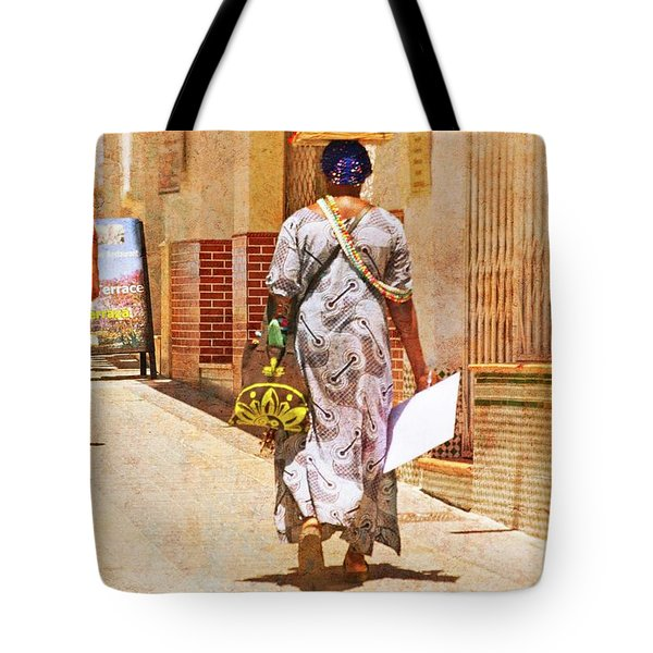 Tote Bag featuring the photograph The Jewelry Seller - Malaga Spain by Mary Machare