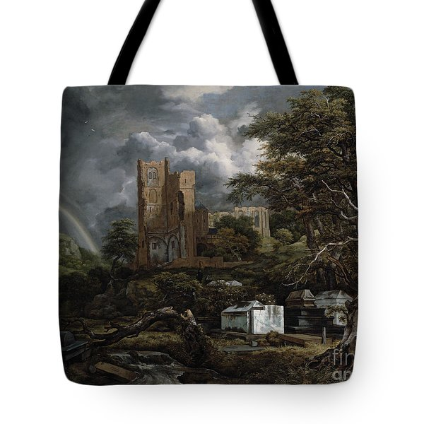 The Jewish Cemetery Tote Bag by Jacob Isaaksz Ruisdael