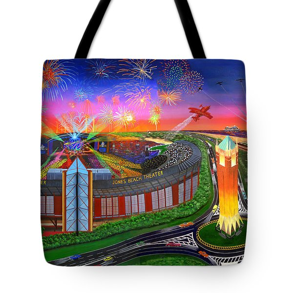 The Jones Beach Theatre With Fireworks Tote Bag by Bonnie Siracusa