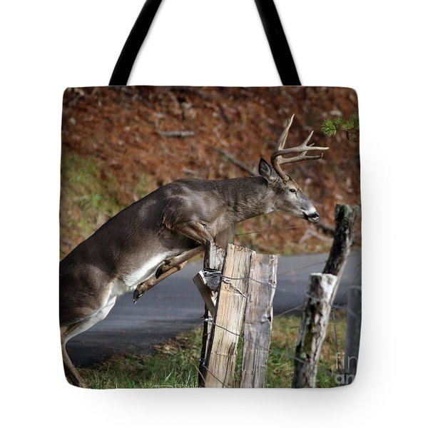 Tote Bag featuring the photograph The Jumper by Douglas Stucky