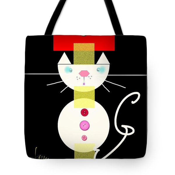 Tote Bag featuring the mixed media The Junk Drawer Cat by Larry Talley