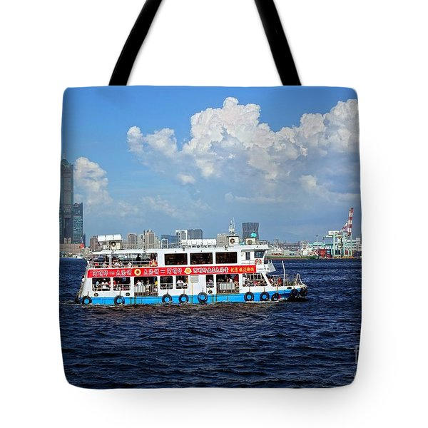 Tote Bag featuring the photograph The Kaohsiung Harbor Ferry Crosses The Bay by Yali Shi