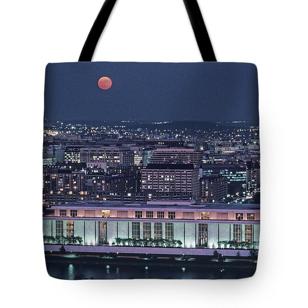 The Kennedy Center Lit Up At Night Tote Bag by Kenneth Garrett