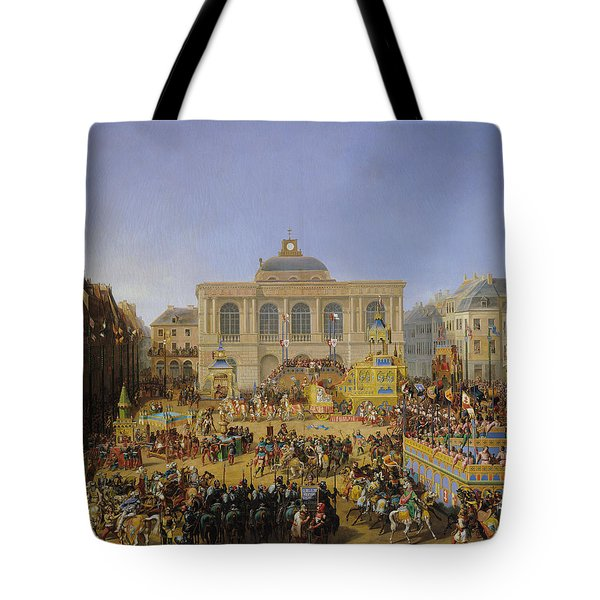 The Kermesse At Saint-omer In 1846 Tote Bag by Auguste Jacques Regnier