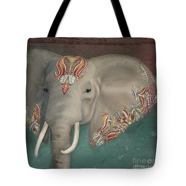 Tote Bag featuring the painting The King - African Bull Elephant - Kashmir Paisley Tribal Pattern Safari Home Decor by Audrey Jeanne Roberts
