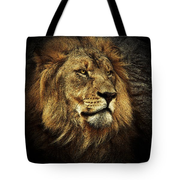 Tote Bag featuring the mixed media The King by Elaine Malott