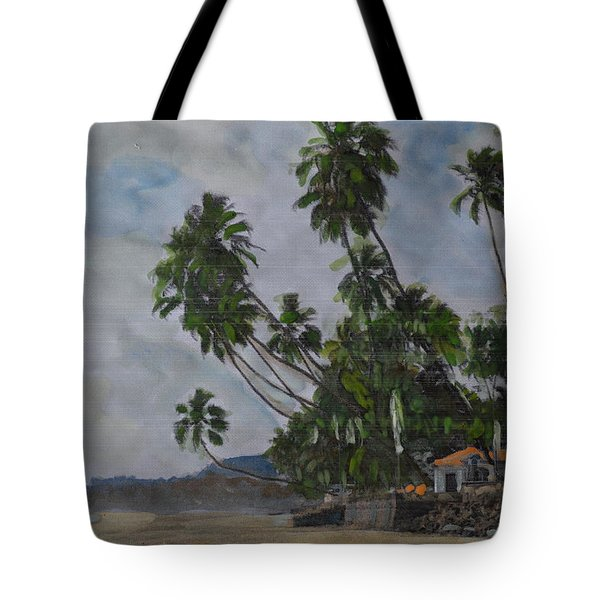 Tote Bag featuring the painting The Konkan Coastline by Vikram Singh