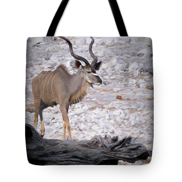 Tote Bag featuring the digital art The Kudu In Namibia by Ernie Echols