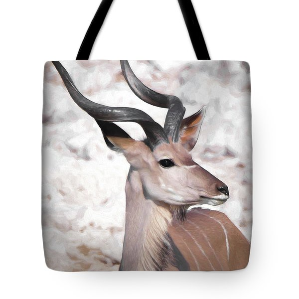 Tote Bag featuring the digital art The Kudu Portrait by Ernie Echols