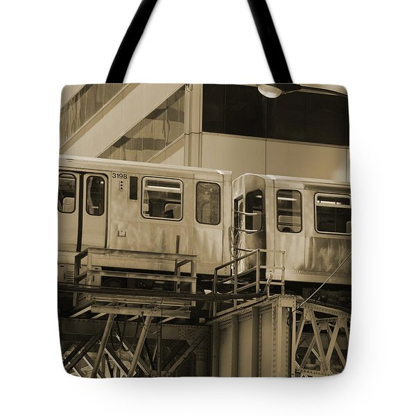 The L Downtown Chicago In Sepia Tote Bag