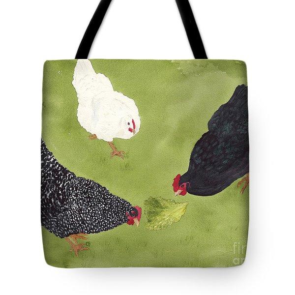The Ladies Love Salad Three Hens With Lettuce Tote Bag